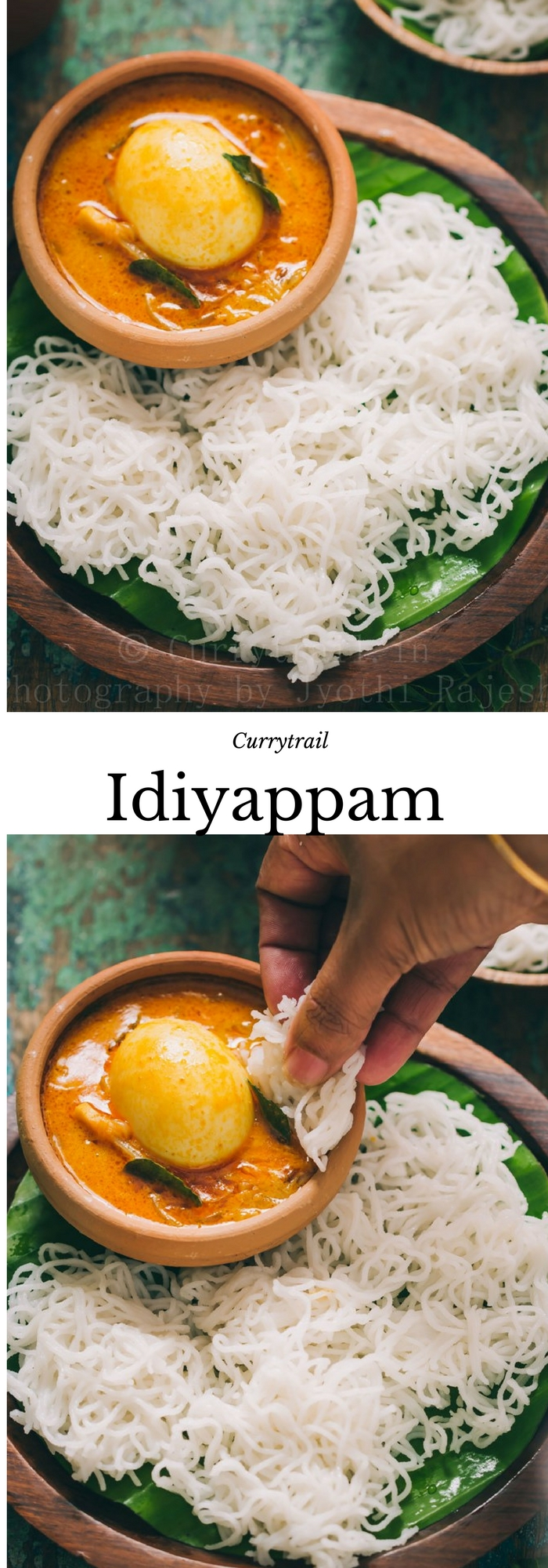 idiyappam or rice string hoppers served on wooden plate with egg stew with text overlay