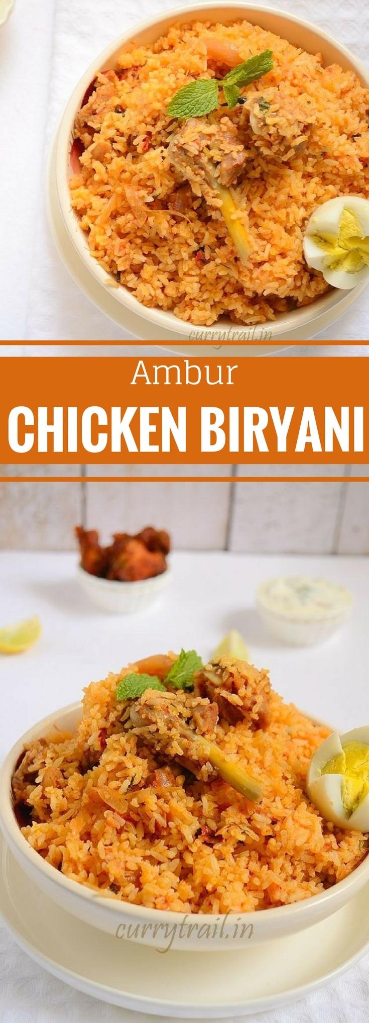 Ambur chicken biryani in a while bowl with chicken leg piece