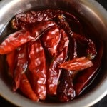 Red chilies soaked in water