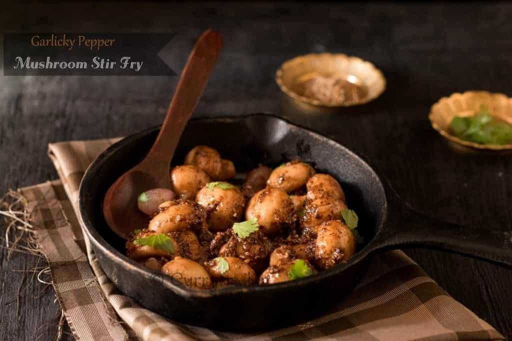 Garlicky Pepper Mushroom Stir Fry Featured Photo