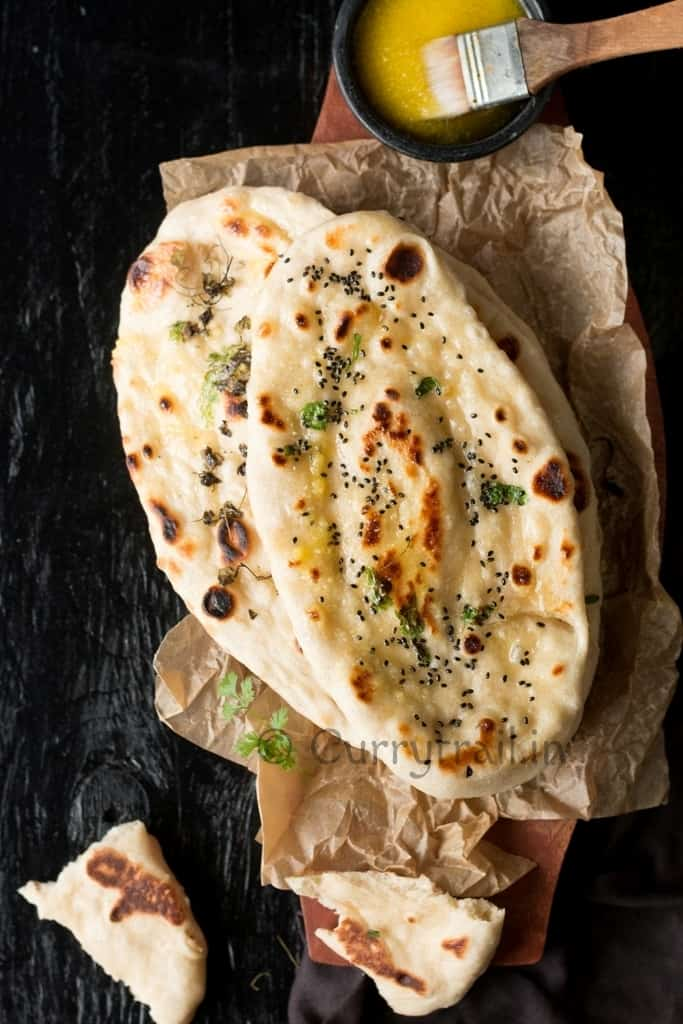 Instant naan with ghee on side