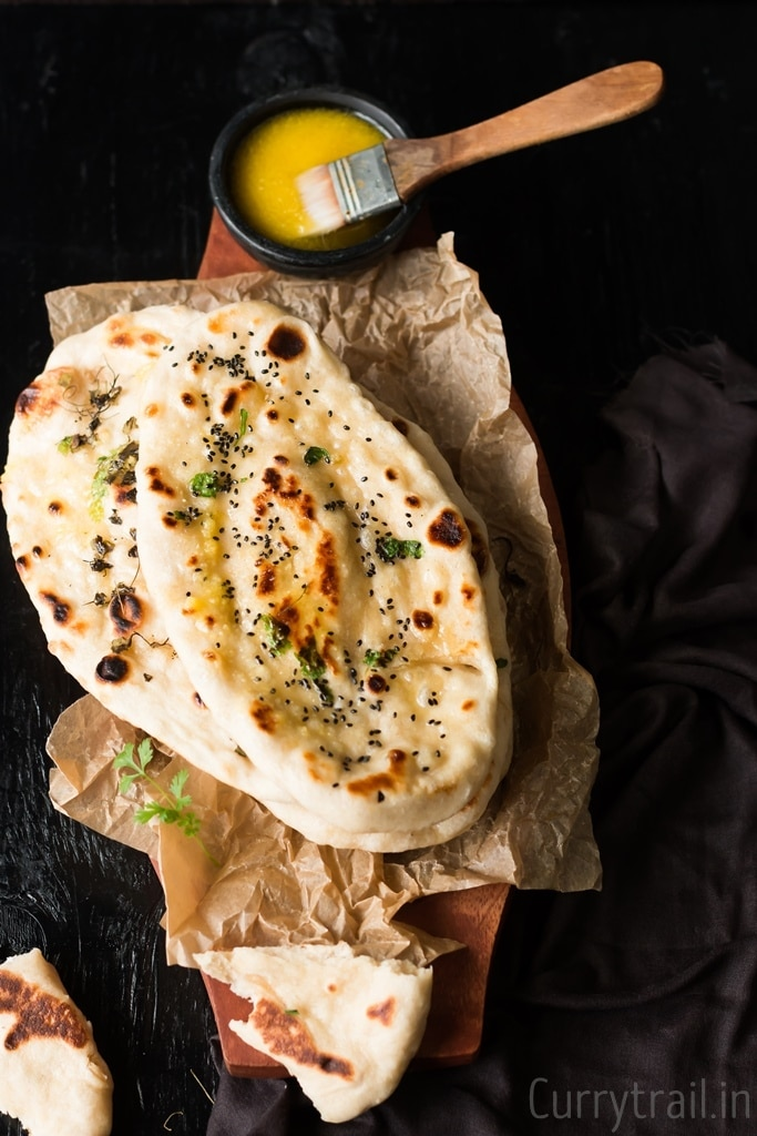 Naan bread with brown blisters on the surface