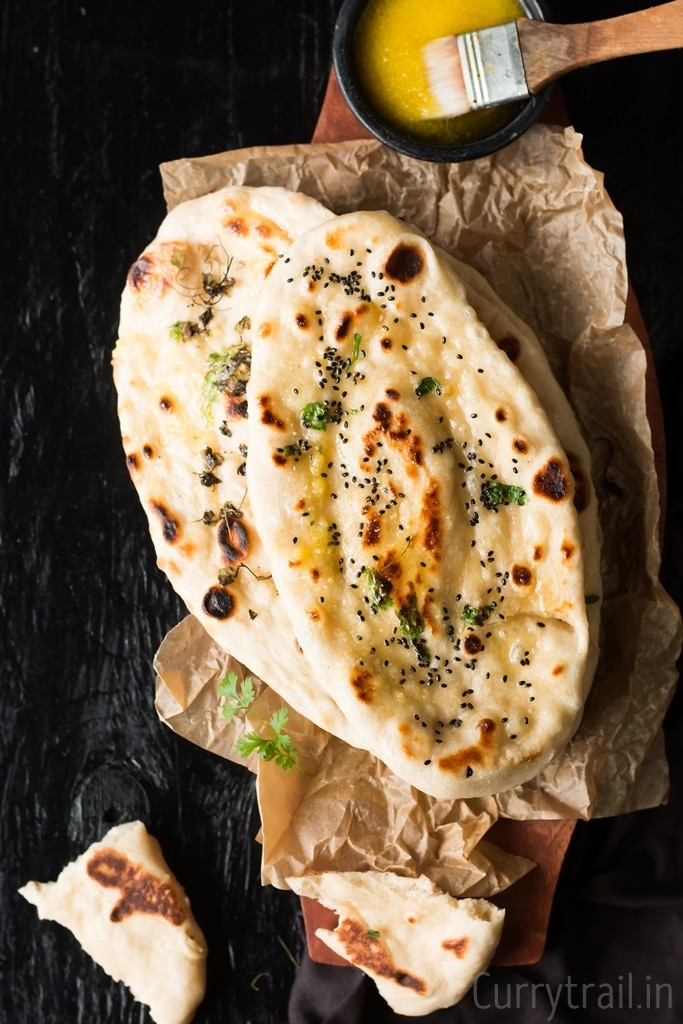 No yeast Instant Naan recipe made on stove top with ghee on side