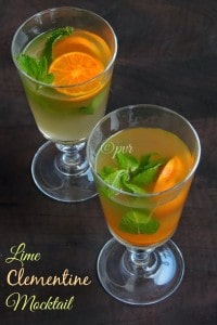 Lime clementine mocktail, Lime and clementine drink
