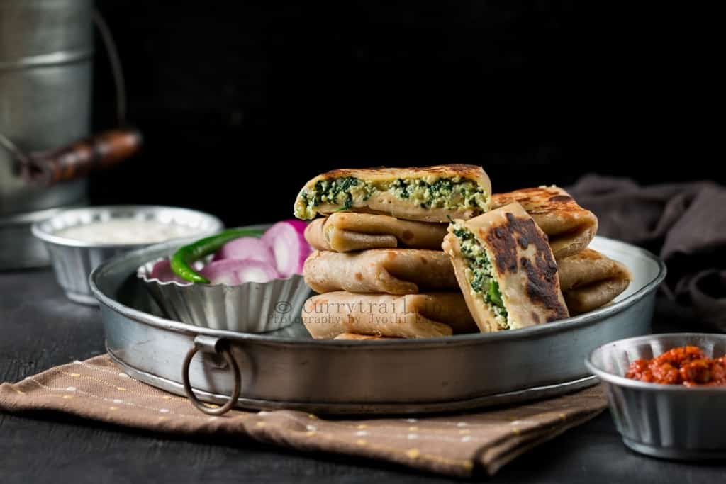 Whole Wheat Spinach Paneer Lifafa Paratha