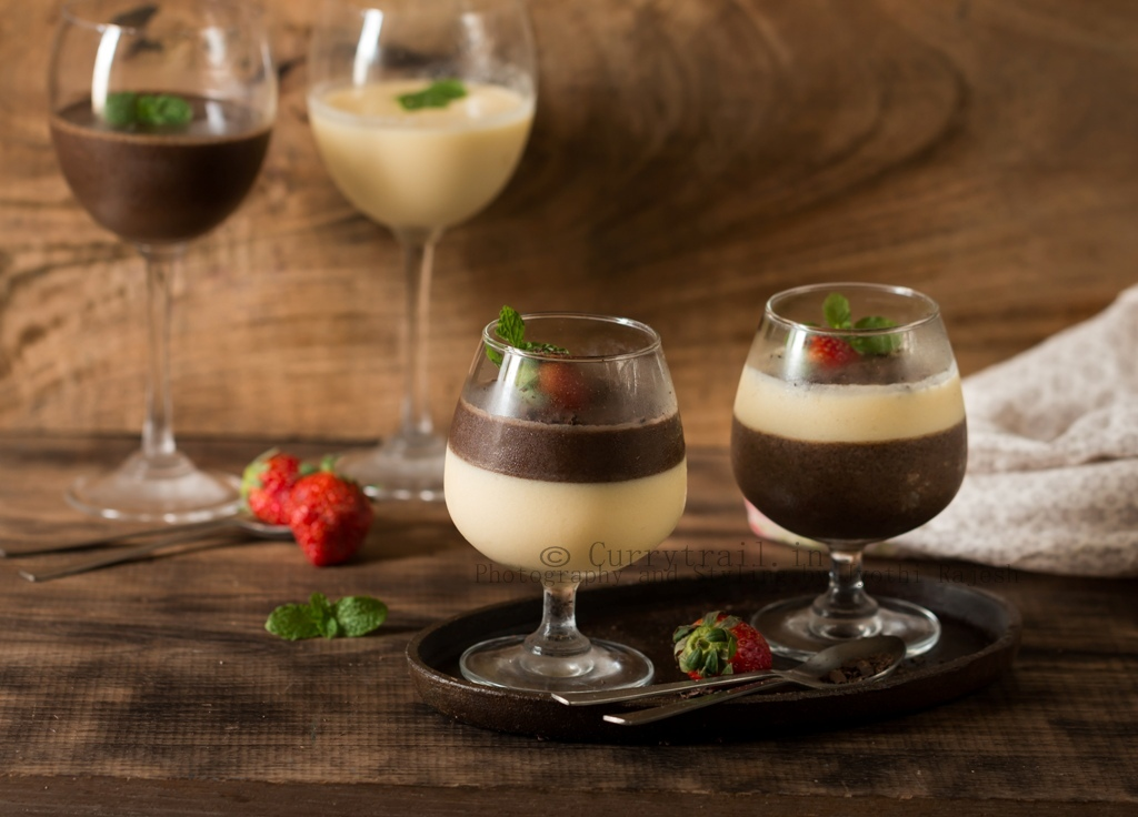 Chocolate and Vanilla Panna Cotta by Jyothi Rajesh