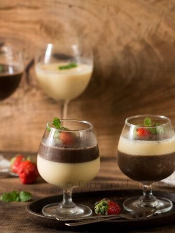layered dessert cups of chocolate and vanilla panna cotta