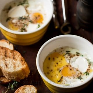 Baked eggs for breakfast in close up view