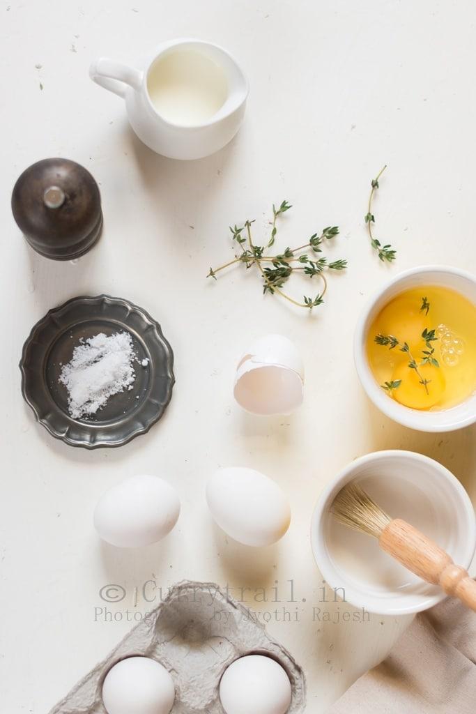 Baked eggs for breakfast ingredients