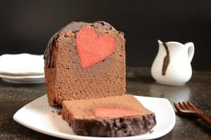 Surprise inside chocolate hearts cake