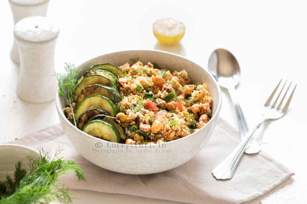 Quinoa With Grilled Zucchini & Roasted Chickpeas