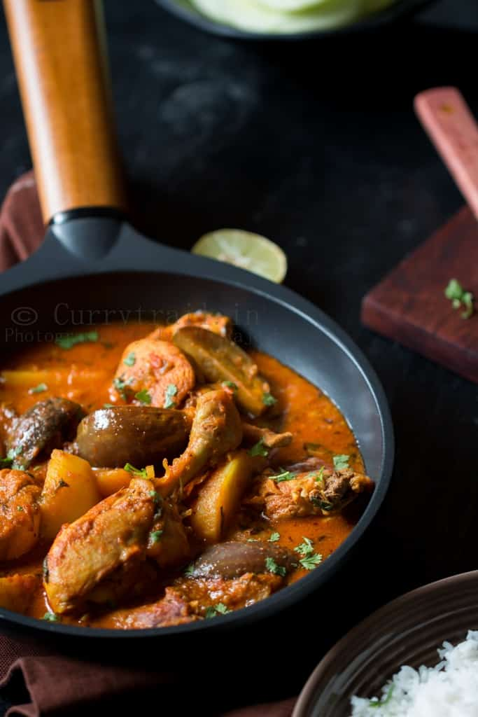 Chicken Brinjal and Potato Curry