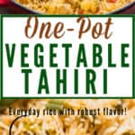 one pot tehri recipe with text overlay
