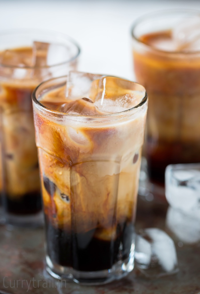 Chilled glasses with iced coffee