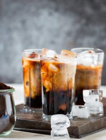 Best Homemade Iced Coffee in 3 glasses with ice cubes
