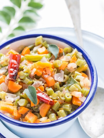 beans carrot poriyal is simple vegetable stir fry side dish popular from South India