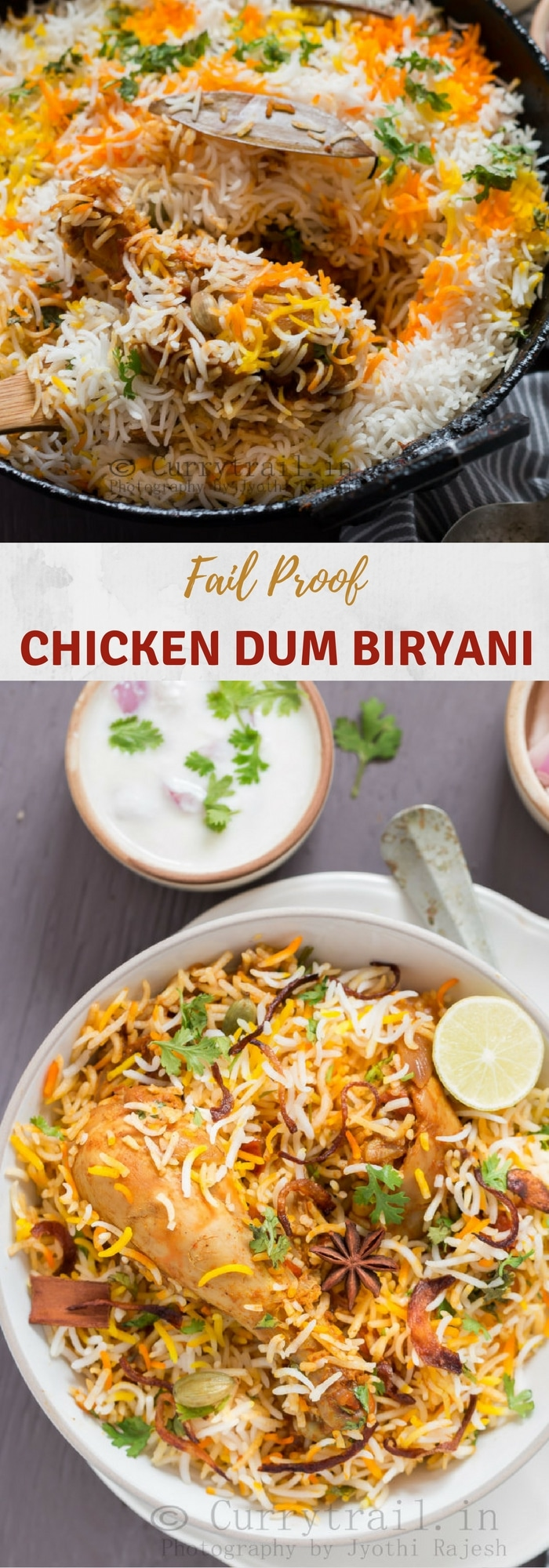 Photo of chicken dum biryani prep and served in white bowl with text overlay