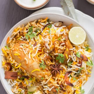 Chicken Dum Biryani in White Bowl