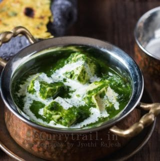Palak Tofu In a Serving Bowl Closeup