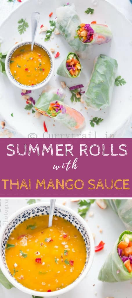 Vegetarian Summer rolls with amazing Thai mango dipping sauce is Simple, refreshing no cook meal that is perfect for summer days. It's all healthy and nutrients loaded that you don't want to pass on.