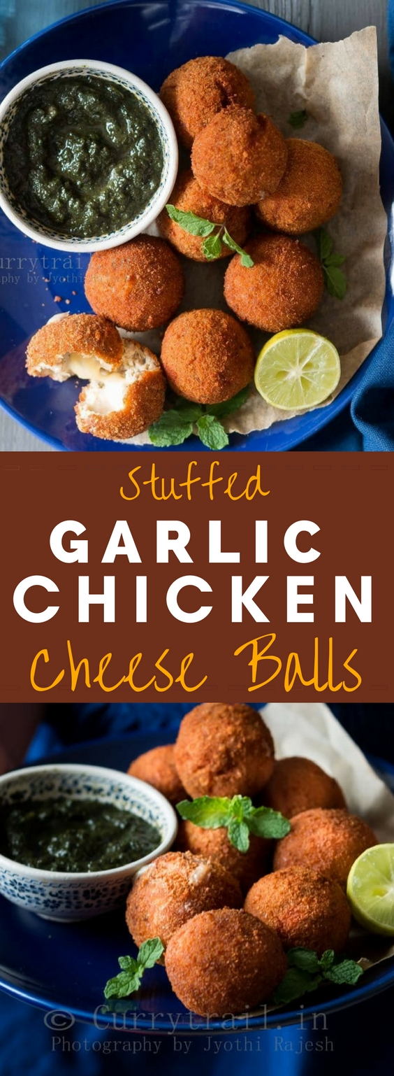 cheesy garlic chicken balls with mint sauce