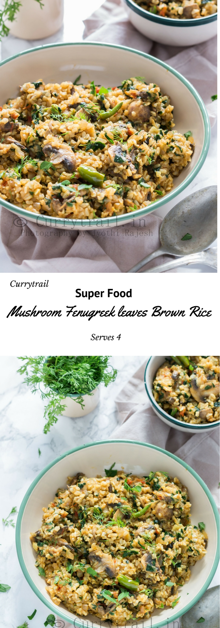 Mushroom Fenugreek Leaves Brown Rice