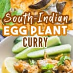 healthy vegan eggplant curry in pot with text
