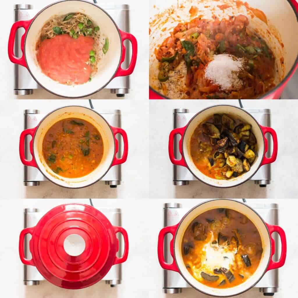 step by step picture collage of how to make eggplant curry