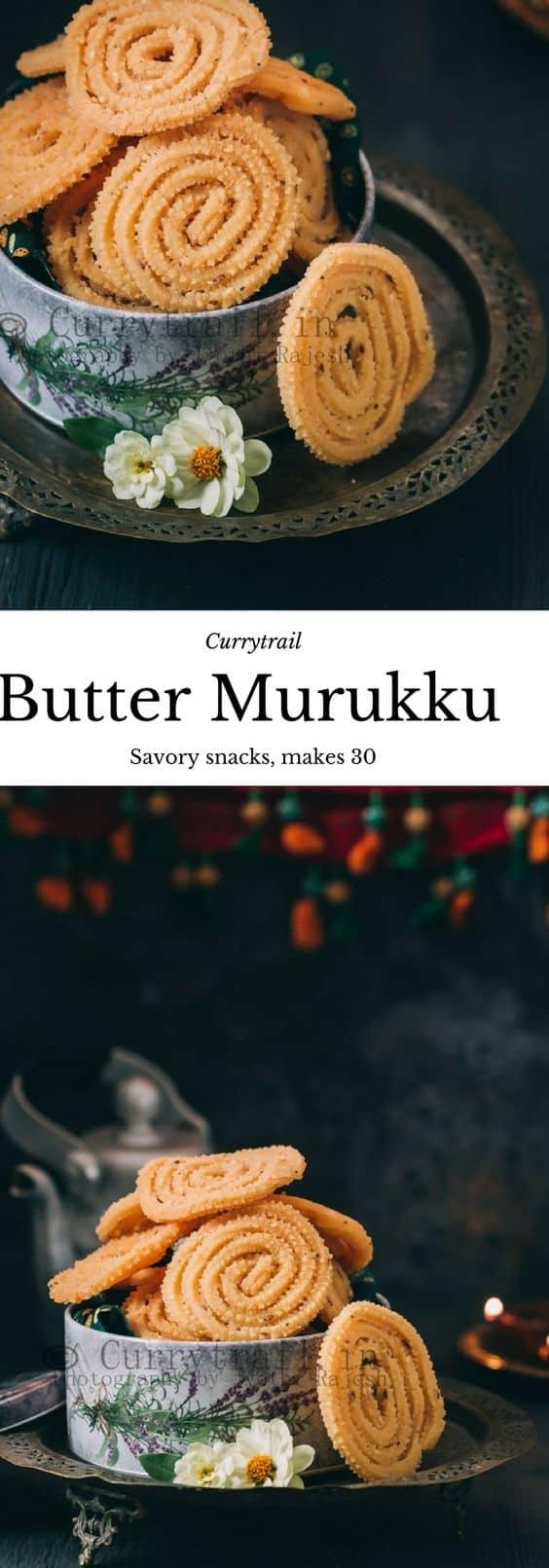 butter murukku recipe with text overlay