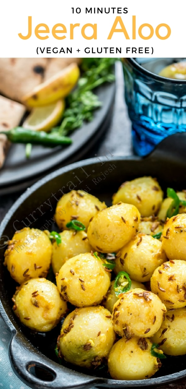 Jeera aloo is potatoes cooked with cumin seeds. This simple, easy to cook side dish takes less than 15 minutes if you have your potatoes cooked and ready. With no onions, no garlic this is great option during fasting days.