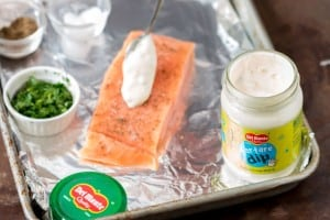 Baked Salmon with Herbs and tartare dip step 1