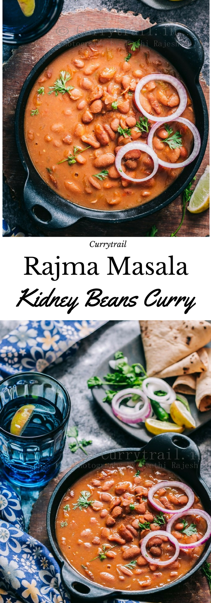 rajma masala is rich, creamy, spicy red bean curry served in cast iron pan with text overlay