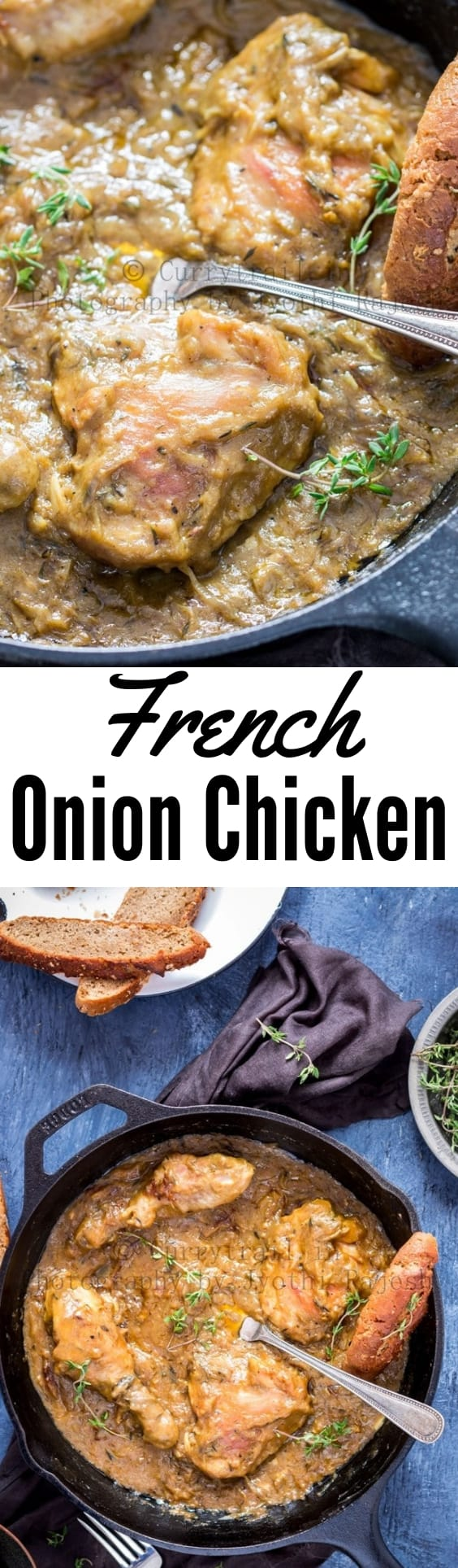 French Onion Chicken Recipe Pin with text overlay
