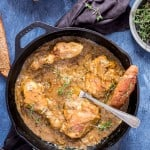 cast iron skillet French onion chicken recipe with crusty bread