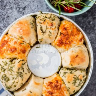 cheesy garlic and herb savory monkey bread baked