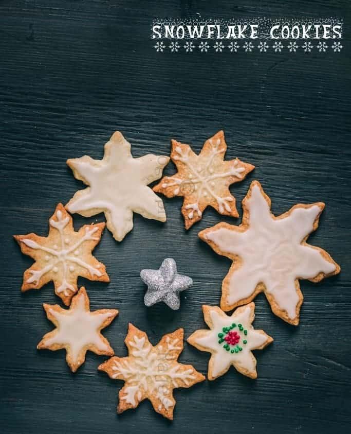 Snowflakes shortbread cookies