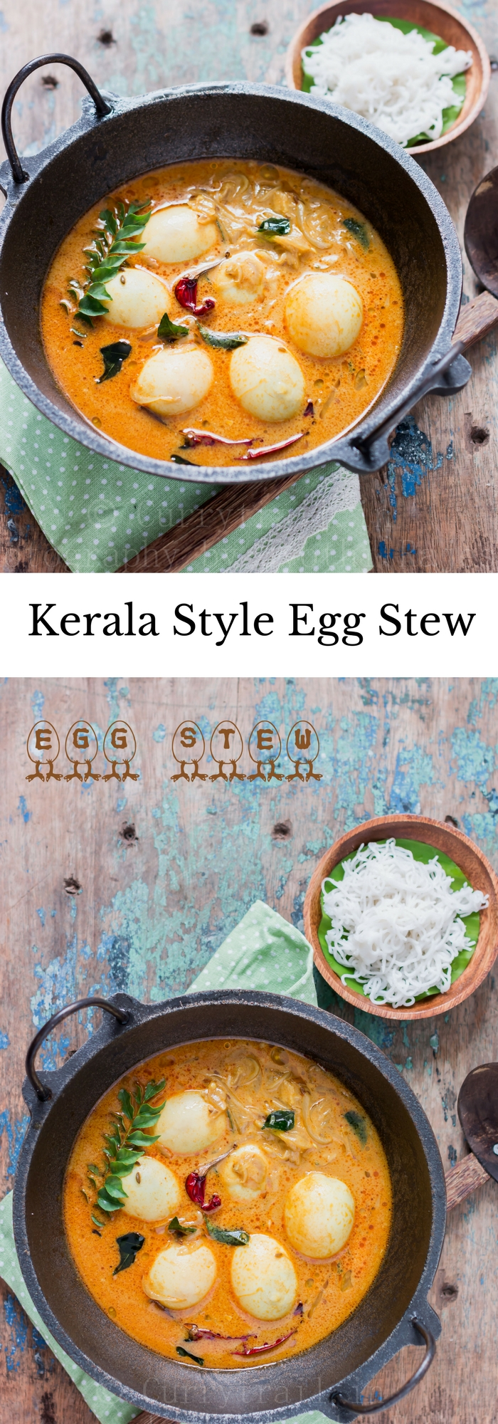 egg stew Kerala style served in cast iron pan for breakfast with rice string hoppers with text overlay