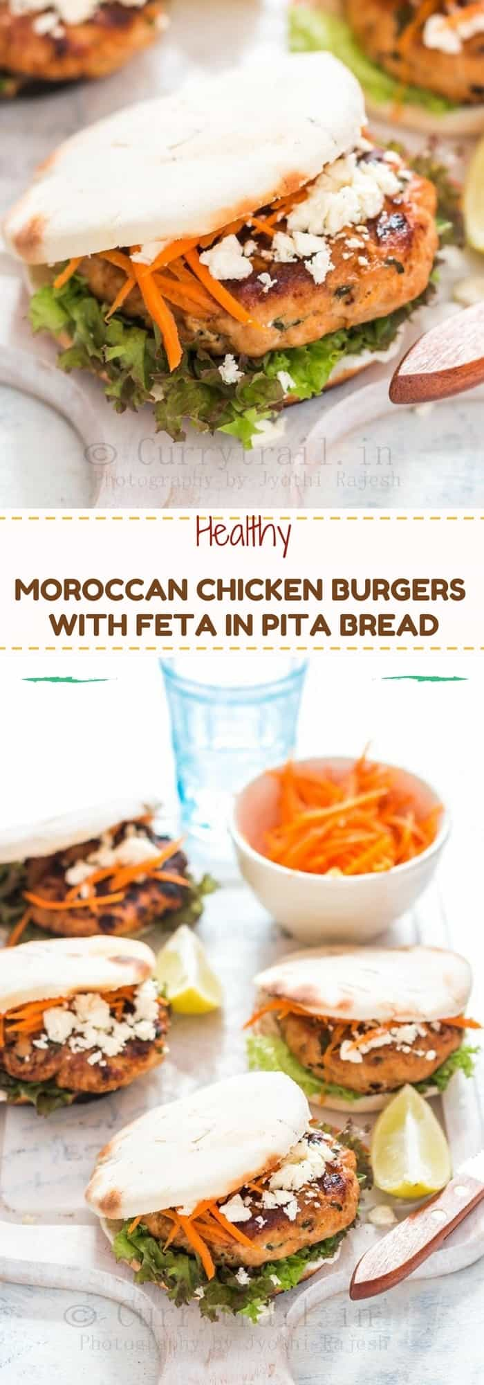 Moroccan Style Chicken Burgers with Feta Cheese and Carrot Slaw Pin