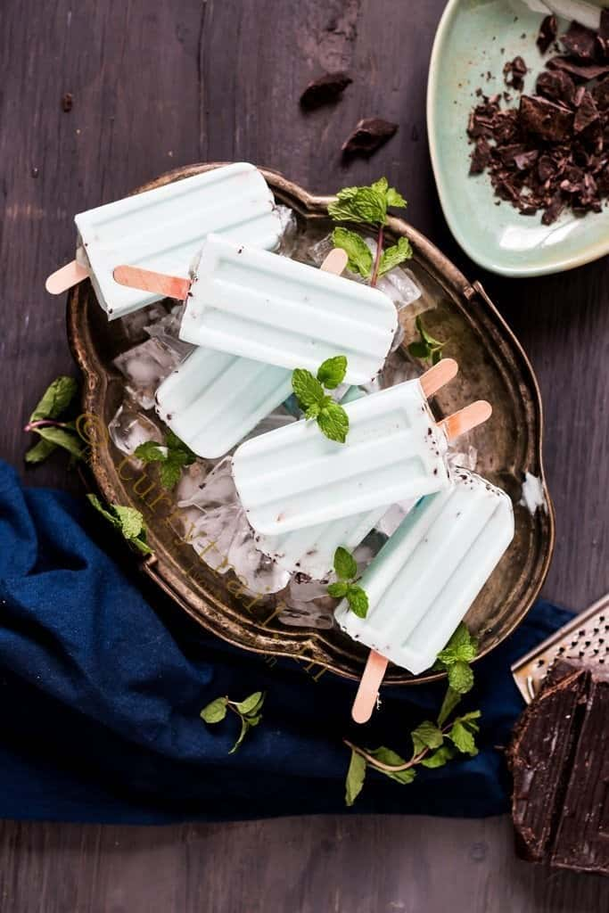 Vegan Chocolate Mint Popsicles