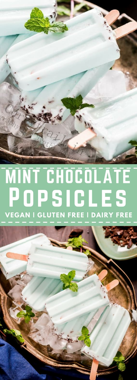 Vegan mint chocolate Popsicle is one of the simplest, creamiest, deliciousness. Rich chocolate chunk paired with refreshing mint to brighten your summer days! This mint chocolate popsicle recipe is naturally gluten-free, dairy-free, and vegan – and it can be made with just SIX ingredients!