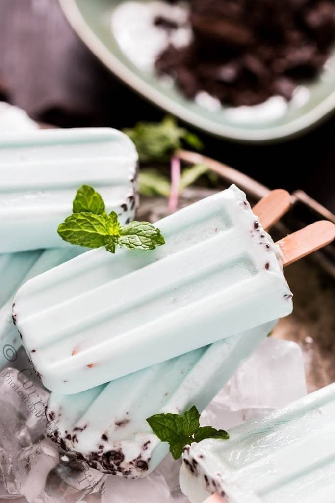 A close up view of chocolate mint popsicles that is vegan gluten free and diary free
