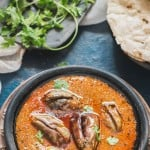 Andhra Style Indian Eggplant Curry with roti on side