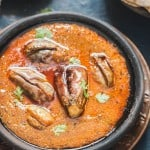 South Indian egg plant curry close up