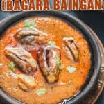 brinjal curry in bowl with text