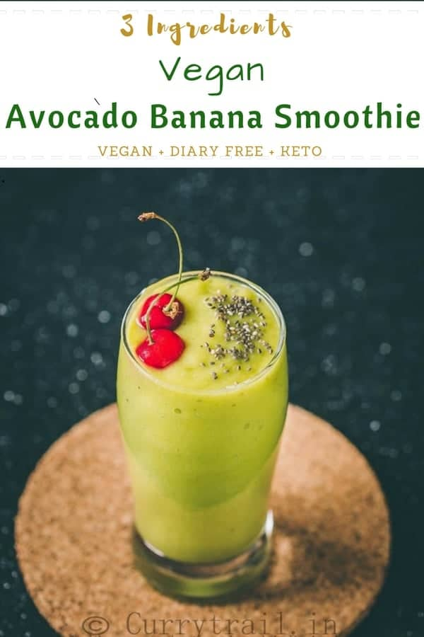 Start your day with this healthy breakfast smoothie vegan avocado banana smoothie. With no added sweetener this smoothie is great for your pre and post workout sessions.