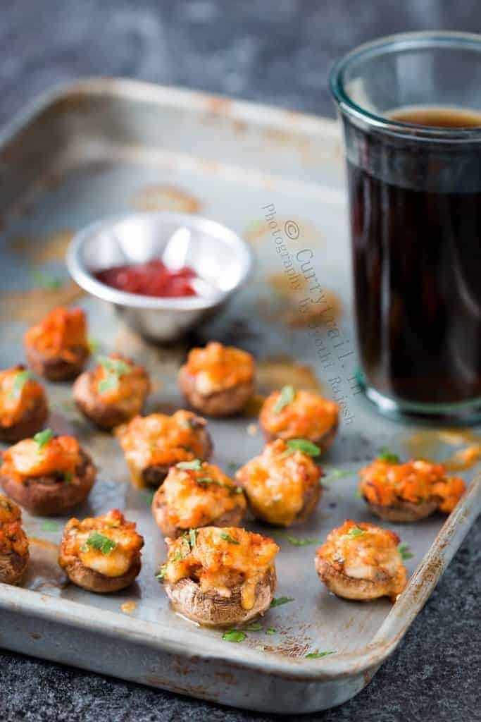 sausage stuffed mushrooms served in baking tray