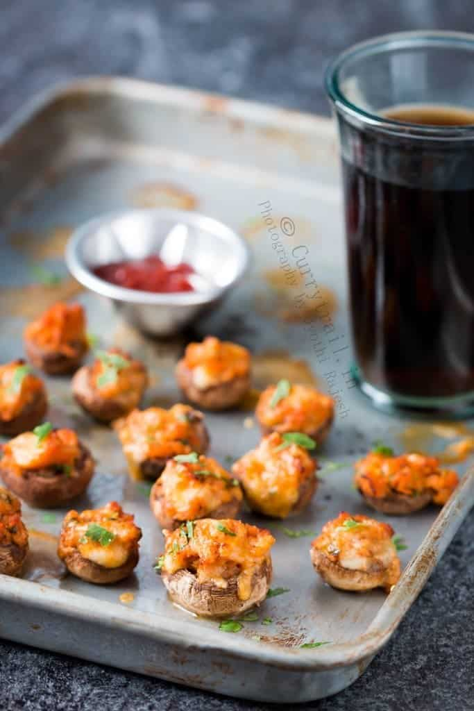 Stuffed Mushrooms with Italian Sausage with ketchup and Coke