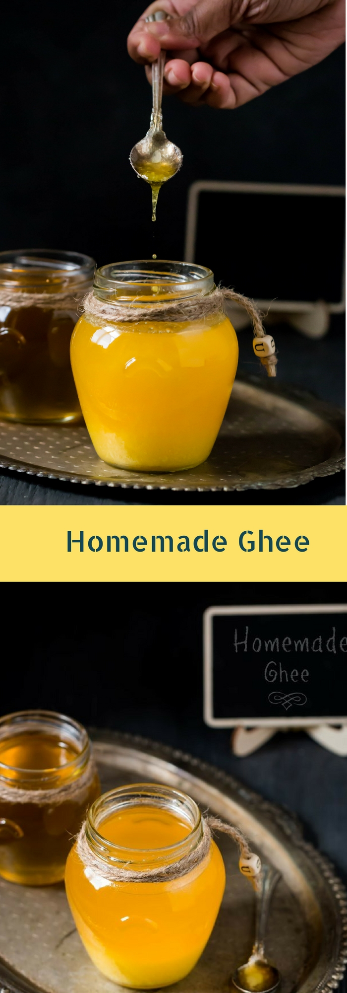 homemade ghee dripping into bottle with text overlay