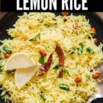 south Indian lemon rice on plate