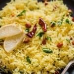 easy south Indian lemon rice recipe on plate